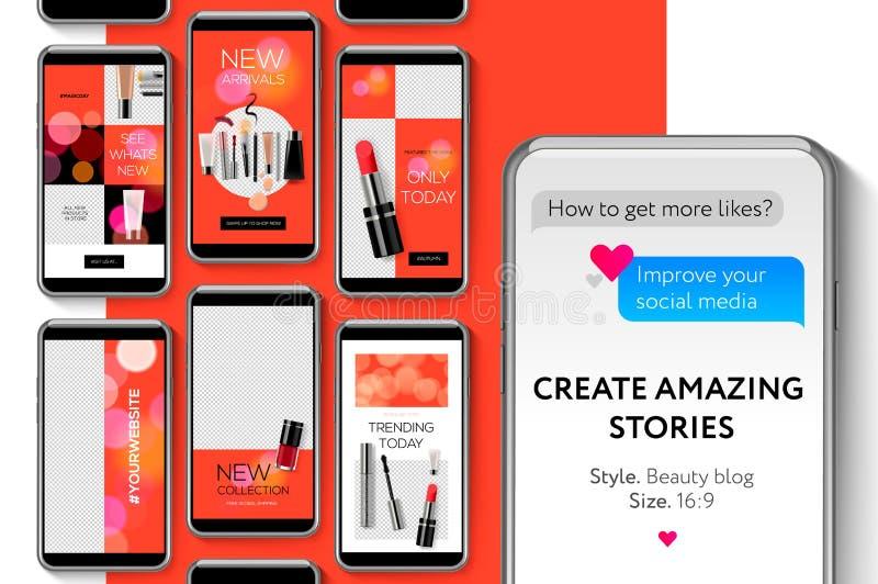 Πρότυπο ιστοριών Instagram Editable Ρέοντας, διανυσματική απεικόνιση ελεύθερη απεικόνιση δικαιώματος