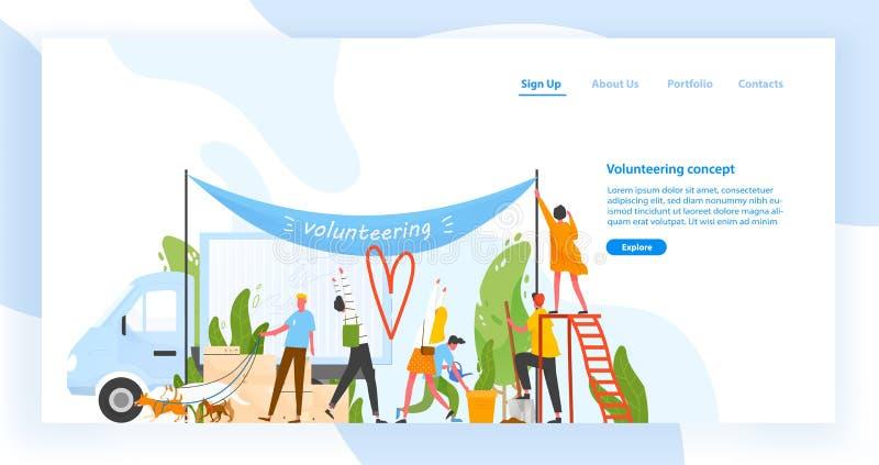 Πρότυπο ιστοχώρου με την ομάδα ανδρών και γυναικών που προσφέρονται εθελοντικά, που κάνουν την εθελοντική εργασία ή που εκτελούν  διανυσματική απεικόνιση