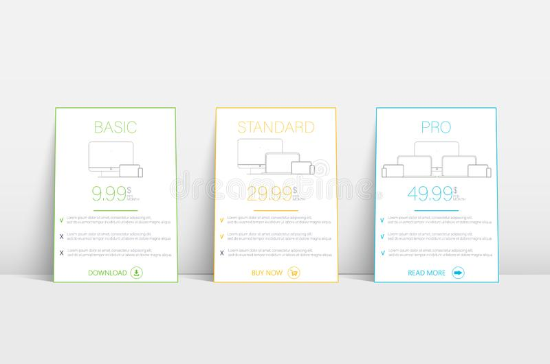 Πρότυπο ιστοχώρου με τη φιλοξενία δασμολογίων Πρότυπο σχεδίων εμβλημάτων επιχειρησιακών δασμολογίων Πρότυπο Infographic ελεύθερη απεικόνιση δικαιώματος
