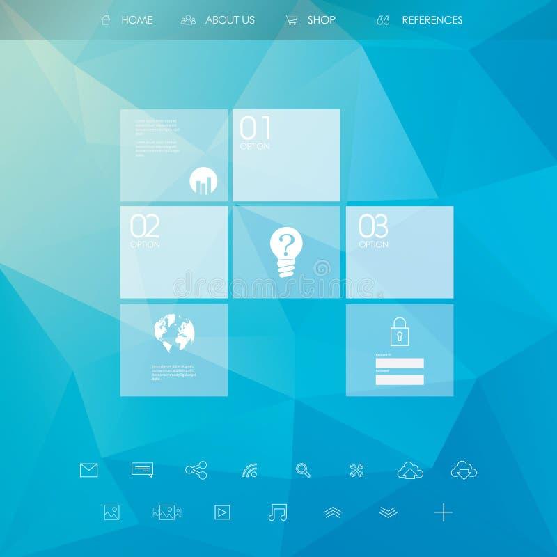 Πρότυπο ιστοχώρου με τις βασικές επιλογές Εικονίδια τέχνης γραμμών ελεύθερη απεικόνιση δικαιώματος