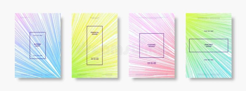 Πρότυπο κάλυψης που τίθεται με το minimalistic χαριτωμένο ύφος κλίσης χρώματος για την αφίσα θερινών κομμάτων διανυσματική απεικόνιση