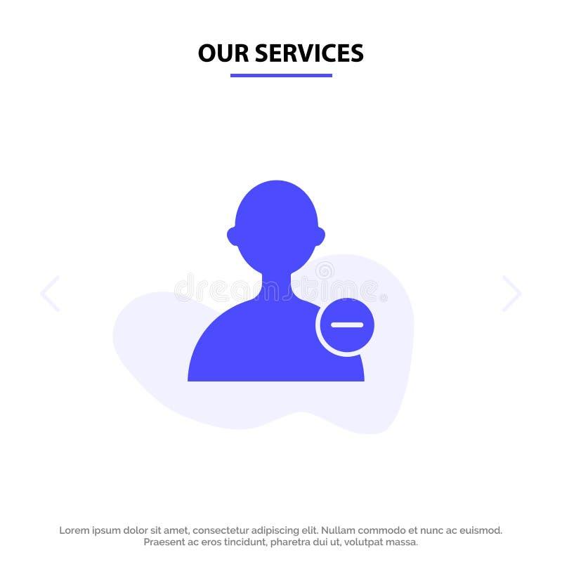 Πρότυπο κάρτας web για τη Βασική υπηρεσία μας, τη διασύνδεση, το εικονίδιο του χρήστη Solid Glyph ελεύθερη απεικόνιση δικαιώματος