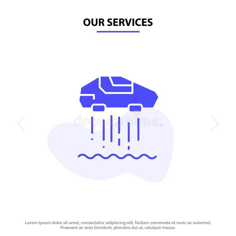 Πρότυπο κάρτας web εικονιδίου συμπαγούς γλύφου των υπηρεσιών μας με κατάδειξη αυτοκινήτου, προσωπικού, αυτοκινήτου, τεχνολογίας ελεύθερη απεικόνιση δικαιώματος