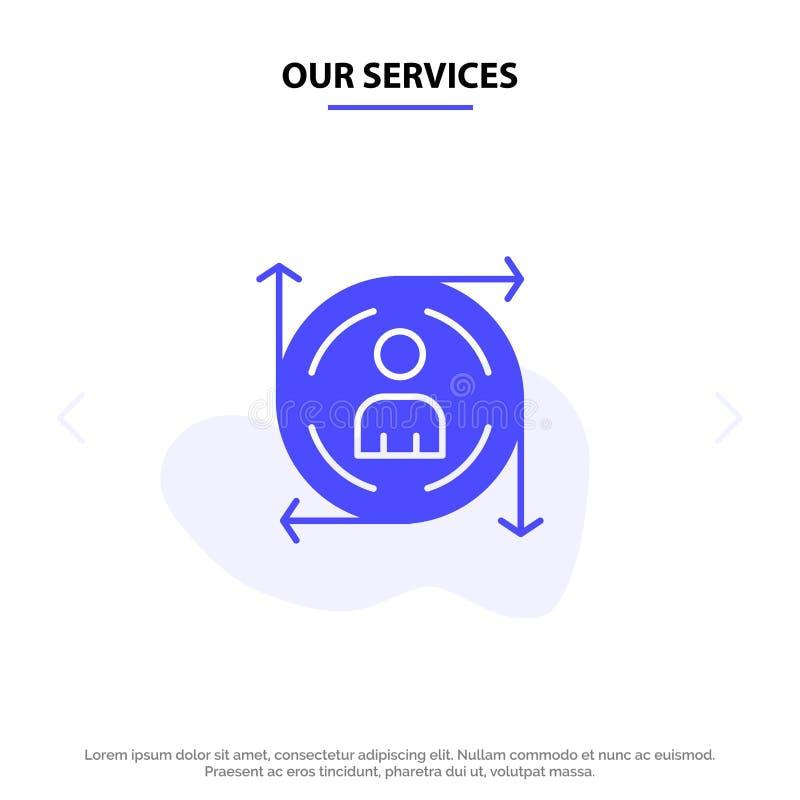 Πρότυπο κάρτας web χρήστη, πρόβλεψης, βέλους, διαδρομής με συμπαγές γλύφο ελεύθερη απεικόνιση δικαιώματος