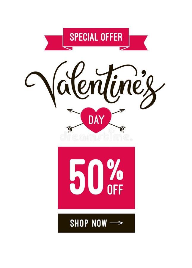 Πρότυπο και αφίσα ηλεκτρονικού ταχυδρομείου σχεδίου εμβλημάτων πώλησης ημέρας βαλεντίνων ` s με το εικονίδιο καρδιών, την κορδέλλ ελεύθερη απεικόνιση δικαιώματος