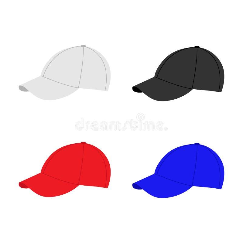 Πρότυπο καπέλων του μπέιζμπολ Συλλογή των διάφορων καλυμμάτων καλυμμάτων Άσπρα, μαύρα, κόκκινα και μπλε χρώματα Θερινά καπέλα για διανυσματική απεικόνιση
