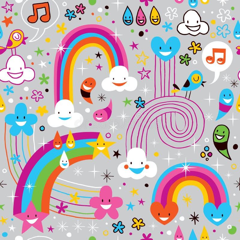 Πρότυπο καρδιών απελευθερώσεων βροχής ουράνιων τόξων σύννεφων ελεύθερη απεικόνιση δικαιώματος