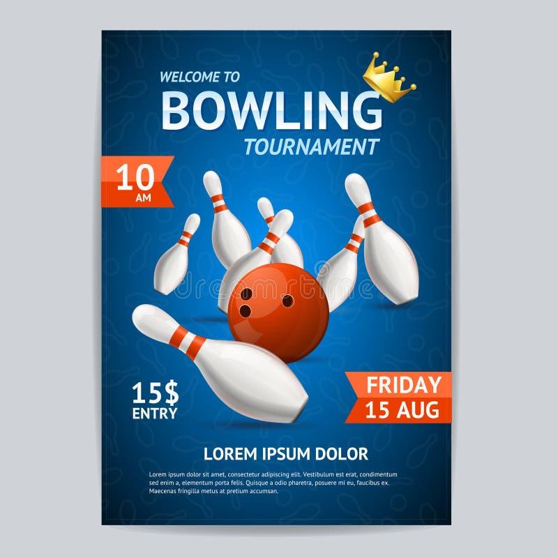 Πρότυπο καρτών αφισών πρωταθλημάτων μπόουλινγκ διάνυσμα απεικόνιση αποθεμάτων