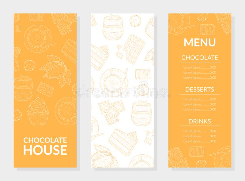 Πρότυπο καρτών επιλογών σπιτιών σοκολάτας, σοκολάτα, επιδόρπια και ποτά, εστιατόριο, καφετέρια, στοιχείο σχεδίου βιομηχανιών ζαχα ελεύθερη απεικόνιση δικαιώματος