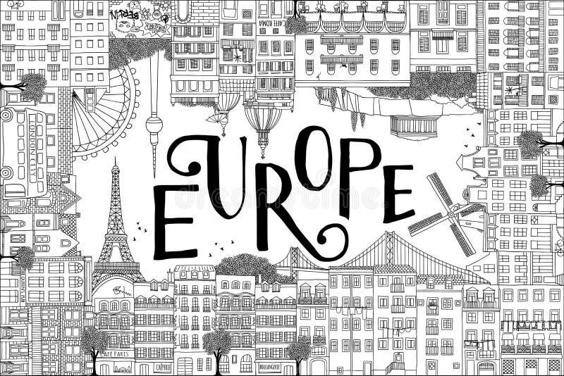 Πρότυπο καρτών με συρμένα τα χέρι σπίτια και τα ορόσημα της Ευρώπης διανυσματική απεικόνιση