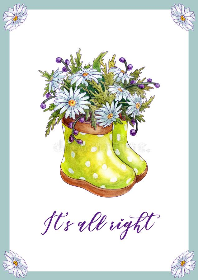 Πρότυπο καρτών με το λουλούδι chamomile, τις λαστιχένια μπότες βάζων και τα φύλλα απεικόνιση αποθεμάτων