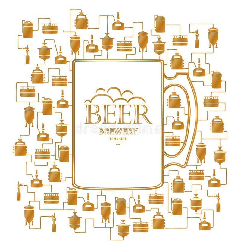 Πρότυπο καρτών με το στοιχείο ζυθοποιείων μπύρας διάνυσμα διανυσματική απεικόνιση