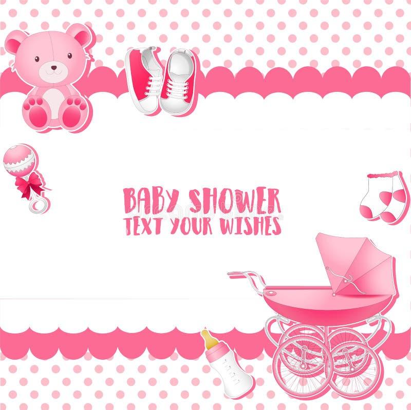 Πρότυπο καρτών πρόσκλησης ντους μωρών τοποθετήστε το κείμενο διανυσματική απεικόνιση