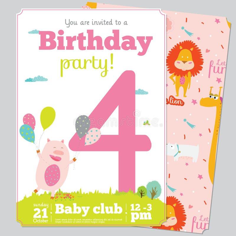 Πρότυπο καρτών πρόσκλησης γιορτής γενεθλίων με χαριτωμένο απεικόνιση αποθεμάτων