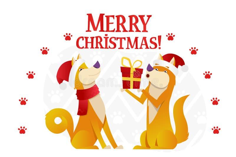 Πρότυπο καρτών Χαρούμενα Χριστούγεννας με δύο χαριτωμένα κίτρινα σκυλιά με το κόκκινο δώρο στο άσπρο υπόβαθρο Τα κινούμενα σχέδια ελεύθερη απεικόνιση δικαιώματος