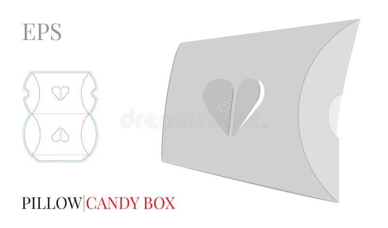 Πρότυπο κιβωτίων μαξιλαριών, διάνυσμα με τις τεμαχισμένες/γραμμές περικοπών λέιζερ Κιβώτιο δώρων καρδιών Άσπρη, κενή, σαφής, απομ ελεύθερη απεικόνιση δικαιώματος