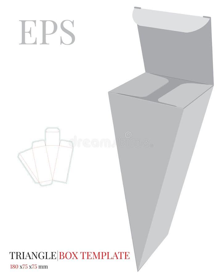 Πρότυπο κιβωτίων τριγώνων, διάνυσμα με τις τεμαχισμένες/γραμμές περικοπών λέιζερ Άσπρη σαφής, κενή, απομονωμένη χλεύη κιβωτίων τρ απεικόνιση αποθεμάτων