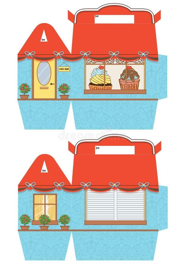 Πρότυπο κιβωτίων Cupcake απεικόνιση αποθεμάτων