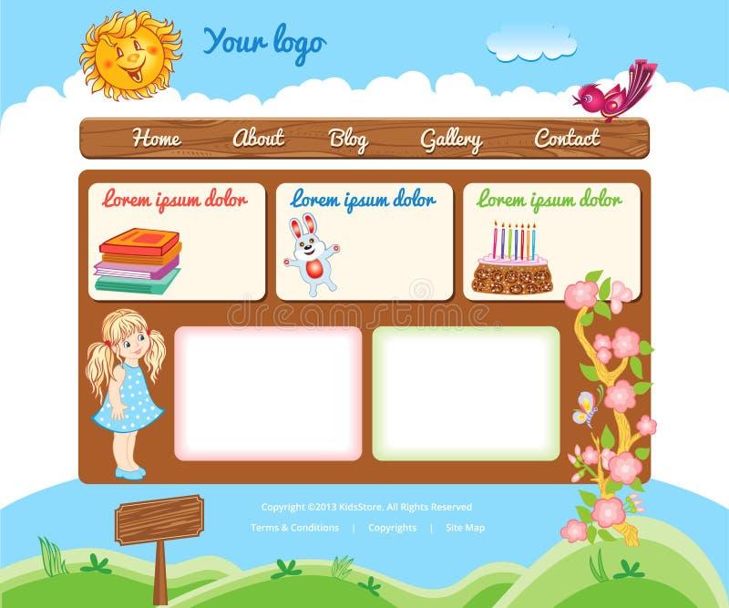 Πρότυπο κινούμενων σχεδίων για τον ιστοχώρο παιδιών διανυσματική απεικόνιση