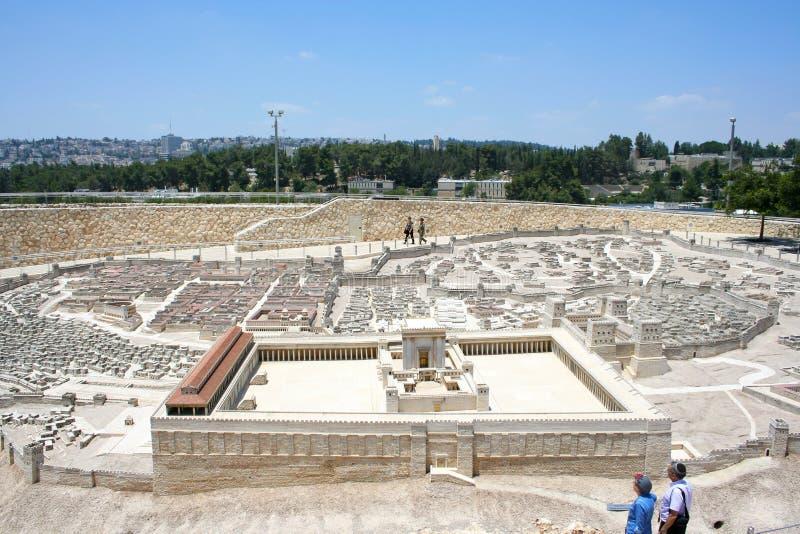 Πρότυπο κλίμακας της Ιερουσαλήμ στη δεύτερη περίοδο ναών, μουσείο του Ισραήλ στοκ φωτογραφίες
