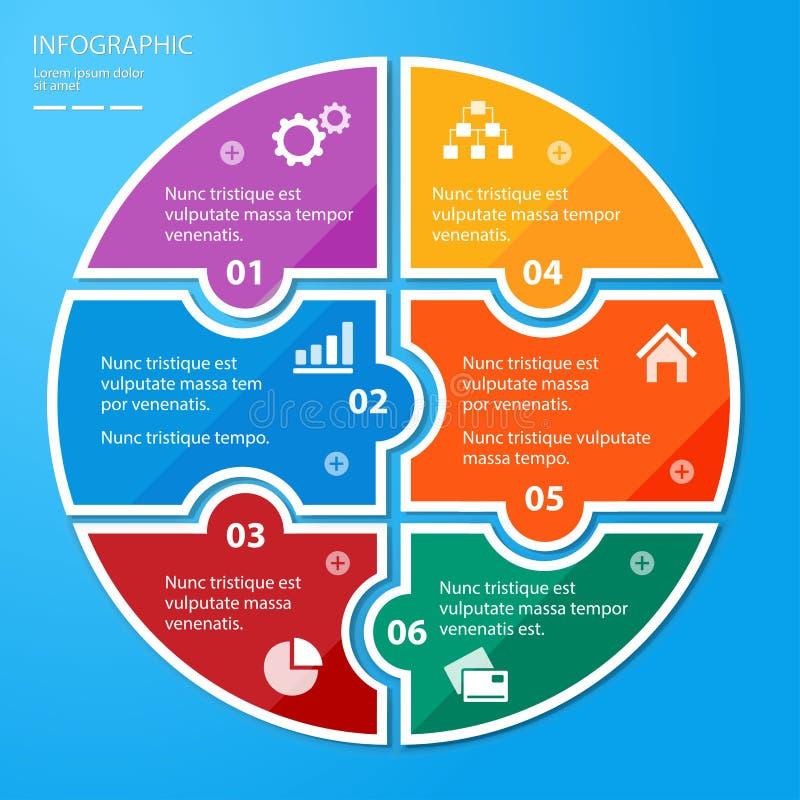 Πρότυπο κομματιών γρίφων κύκλων για infographic ελεύθερη απεικόνιση δικαιώματος