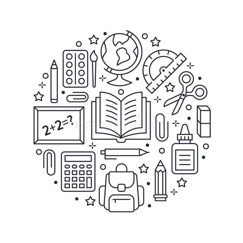 Πρότυπο κύκλων σχολικών προμηθειών με τα εικονίδια γραμμών καθορισμένα Αφίσα εργαλείων μελέτης - σφαίρα, υπολογιστής, βιβλίο, μολ ελεύθερη απεικόνιση δικαιώματος