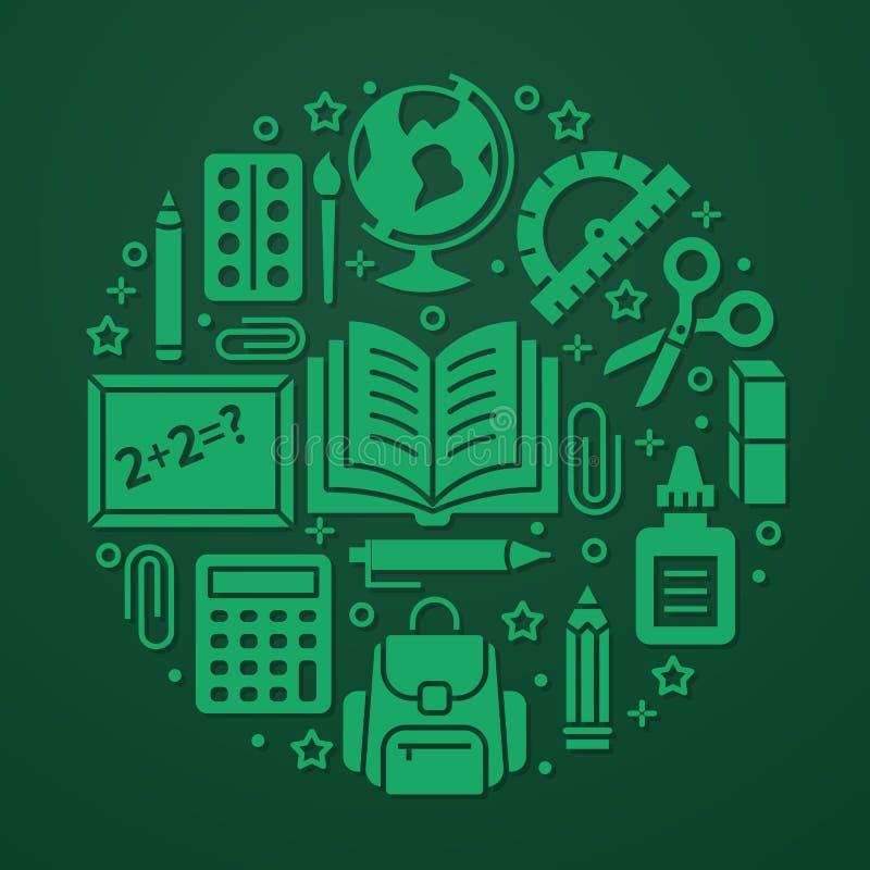 Πρότυπο κύκλων σχολικών προμηθειών με τα εικονίδια glyph καθορισμένα Πράσινη αφίσα εργαλείων μελέτης - σφαίρα, υπολογιστής, βιβλί διανυσματική απεικόνιση