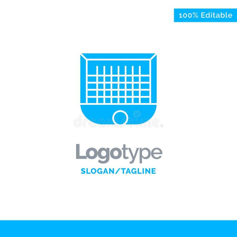 Πρότυπο λογότυπου Ball, Gate, Goalpost, Net, Soccer Blue Solid Θέση για γραμμή εργαλείων ελεύθερη απεικόνιση δικαιώματος