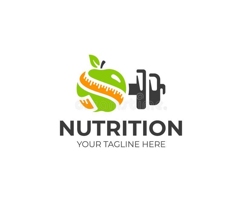 Πρότυπο λογότυπων αθλητικής διατροφής Πράσινο μήλο με το διανυσματικό σχέδιο αλτήρων ταινιών και μετάλλων μέτρου διανυσματική απεικόνιση
