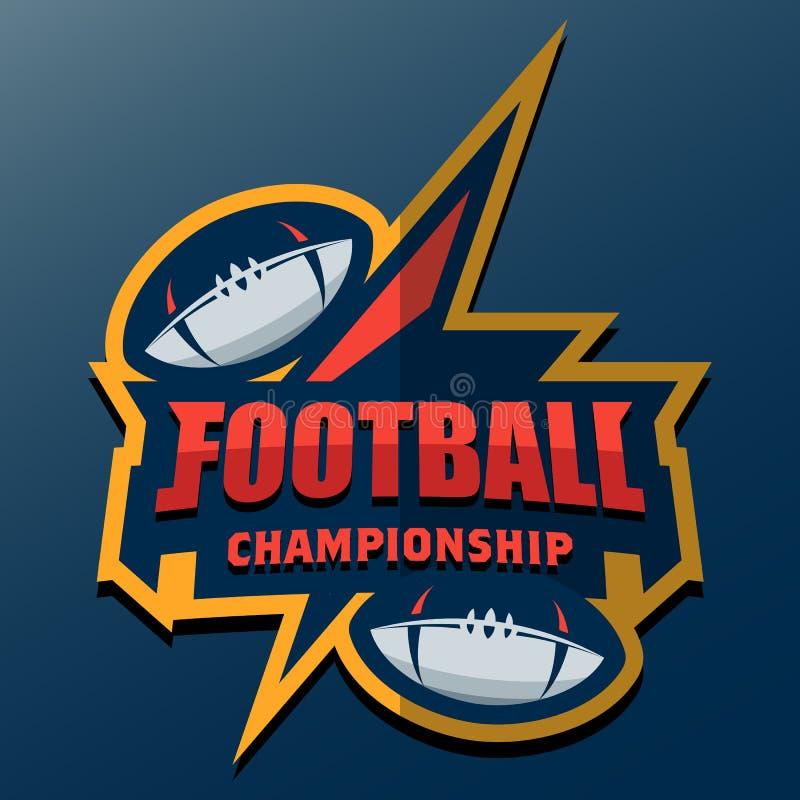 Πρότυπο λογότυπων αμερικανικού ποδοσφαίρου Διανυσματικά λογότυπα Illustrati κολλεγίου απεικόνιση αποθεμάτων