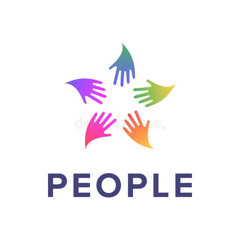 Πρότυπο λογότυπων ανθρώπων Κοινωνικό δημιουργικό σημάδι εικονιδίων σχέσης Ζωηρόχρωμο σύμβολο την επιχείρηση που απομονώνεται για απεικόνιση αποθεμάτων
