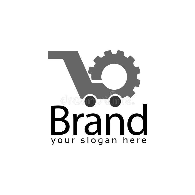 Πρότυπο λογότυπων αποθεμάτων αγοράς μηχανών Επίπεδο λογότυπο editable r διανυσματική απεικόνιση