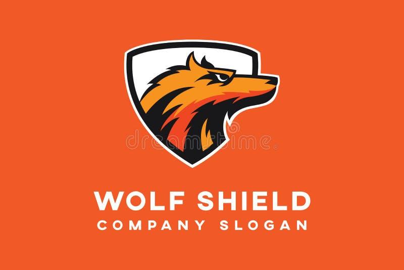 Πρότυπο λογότυπων ασπίδων λύκων ελεύθερη απεικόνιση δικαιώματος