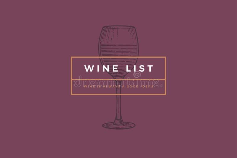 Πρότυπο λογότυπων για την κάρτα, το φυλλάδιο, τις επιλογές, το εστιατόριο ή το φραγμό κρασιού σχεδίου ελεύθερη απεικόνιση δικαιώματος