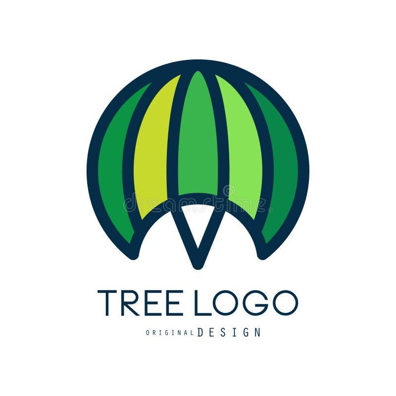 Πρότυπο λογότυπων δέντρων, πράσινη αφηρημένη οργανική διανυσματική απεικόνιση στοιχείων σχεδίου ελεύθερη απεικόνιση δικαιώματος