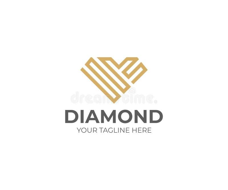 Πρότυπο λογότυπων διαμαντιών Διανυσματικό σχέδιο κοσμήματος απεικόνιση αποθεμάτων