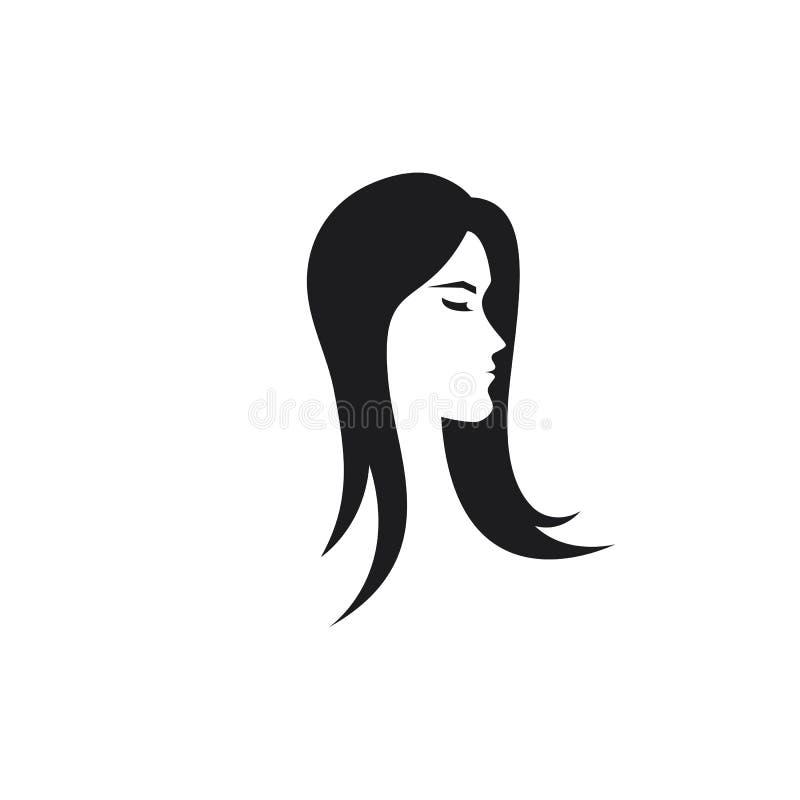 Πρότυπο λογότυπων εικονιδίων γυναικών ομορφιάς διανυσματική απεικόνιση
