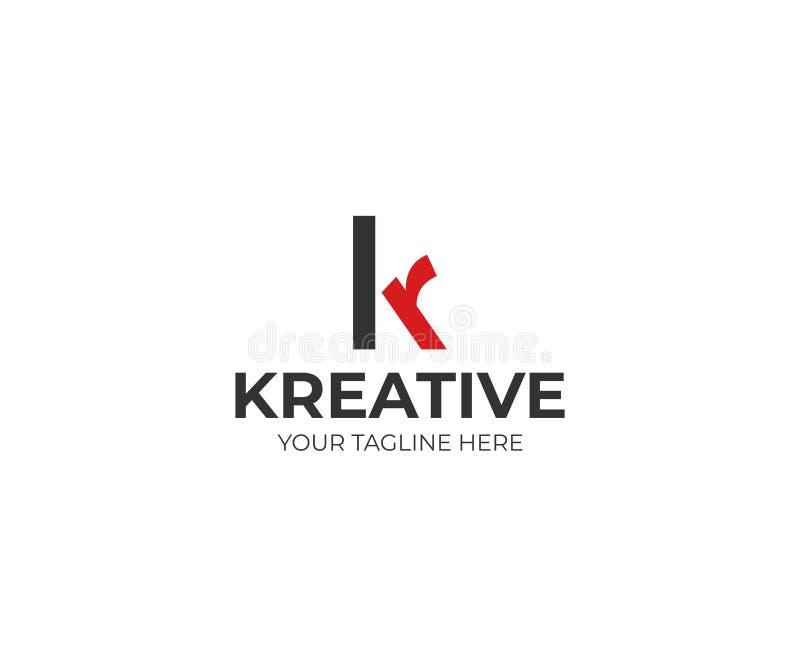Πρότυπο λογότυπων επιστολών Κ και ρ Διανυσματικό σχέδιο χαρακτήρων ελεύθερη απεικόνιση δικαιώματος