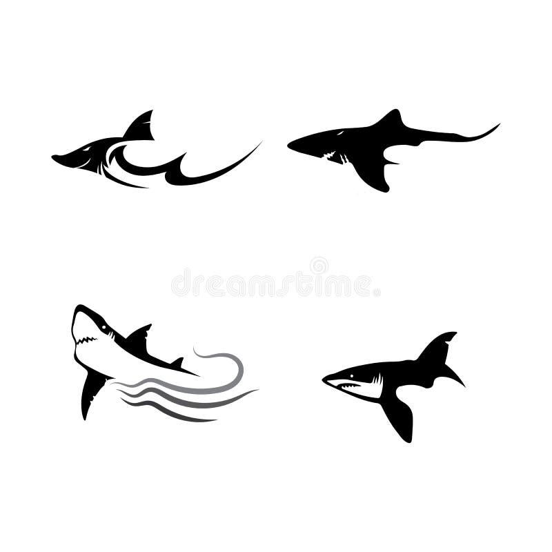 Πρότυπο λογότυπων καρχαριών και διανυσματικό ζώο θάλασσας ψαριών σχεδίου άγριο διανυσματική απεικόνιση
