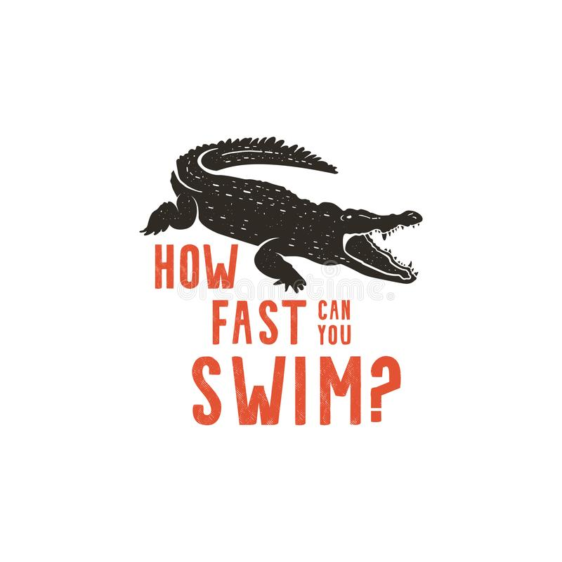 Πρότυπο λογότυπων κροκοδείλων Σύμβολο του αλλιγάτορα Κροκόδειλος με το κείμενο Σχέδιο διακριτικών τυπογραφίας άγριων ζώων Εκλεκτή διανυσματική απεικόνιση