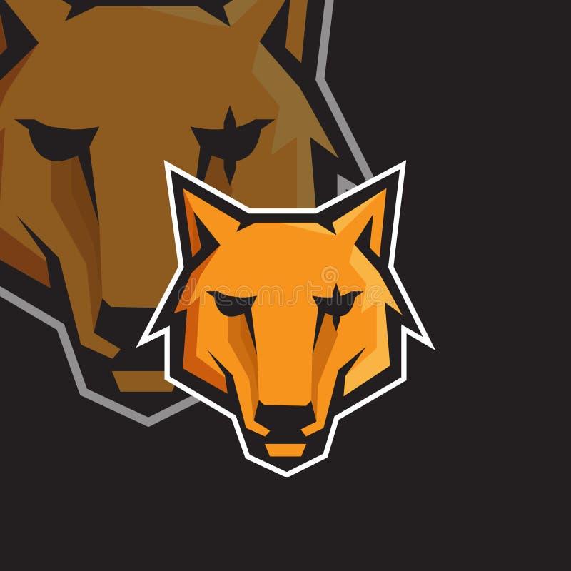 Πρότυπο λογότυπων μασκότ αθλητικού τυχερού παιχνιδιού προσώπου ε λύκων απεικόνιση αποθεμάτων