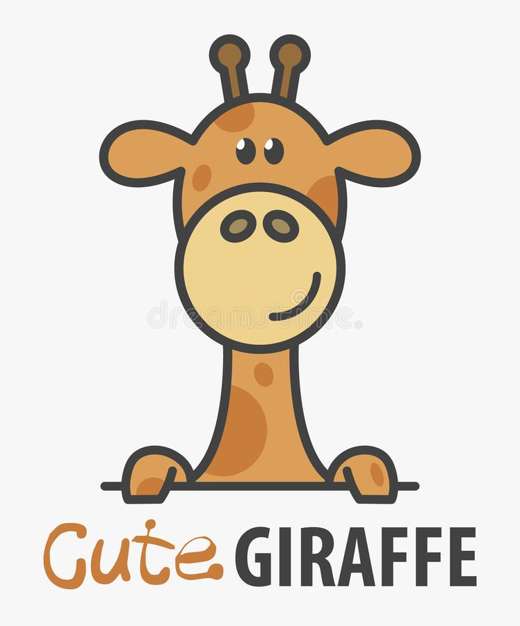 Πρότυπο λογότυπων με χαριτωμένο giraffe Διανυσματικό πρότυπο σχεδίου λογότυπων για το ζωολογικό κήπο, κτηνιατρικές κλινικές Αφρικ διανυσματική απεικόνιση