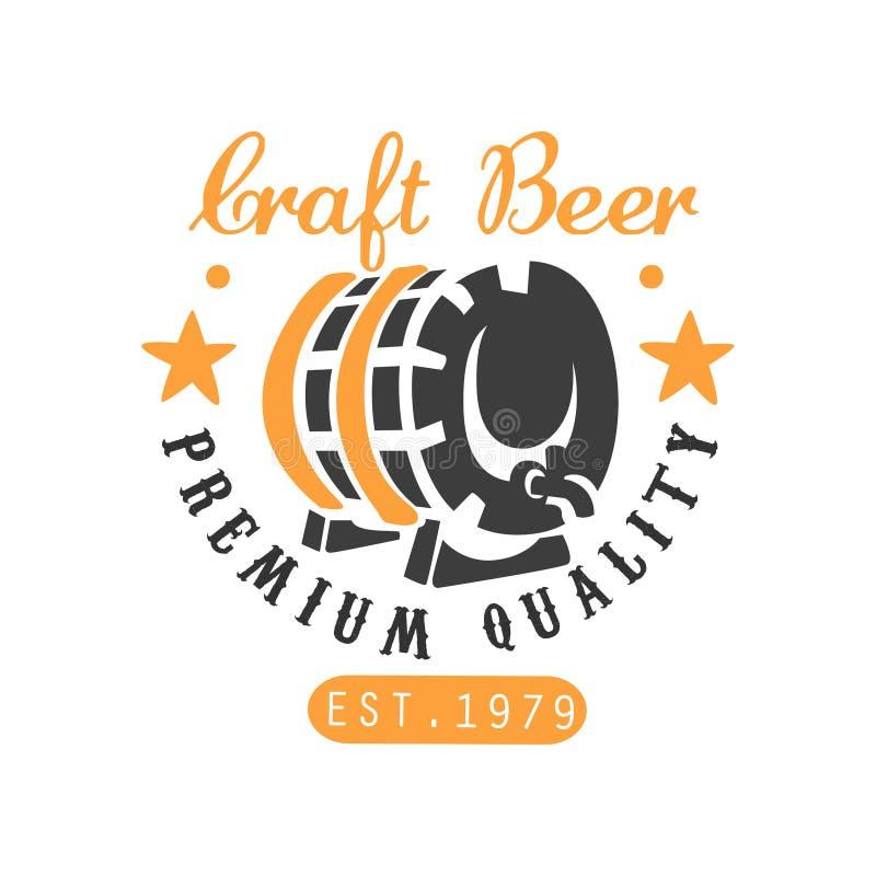 Πρότυπο λογότυπων μπύρας τεχνών με το βαρέλι και τα αστέρια Δημιουργικό μαύρο και πορτοκαλί έμβλημα Διανυσματικό σχέδιο για την π απεικόνιση αποθεμάτων