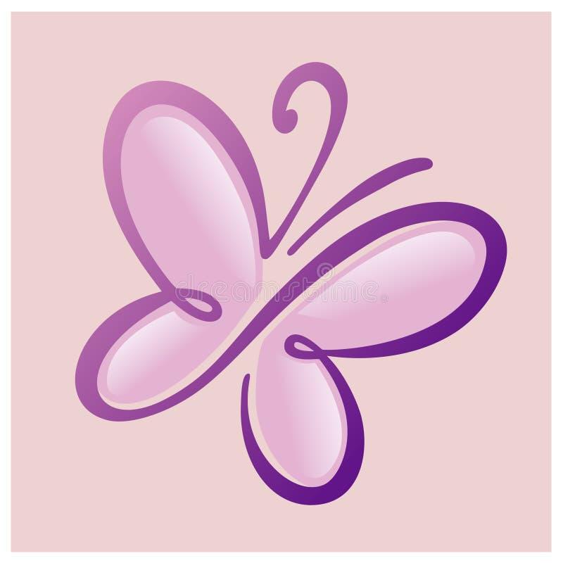 Πρότυπο λογότυπων πεταλούδων, απεικόνιση Θερινό ρόδινο υπόβαθρο με τις σκιαγραφίες πεταλούδων απεικόνιση αποθεμάτων