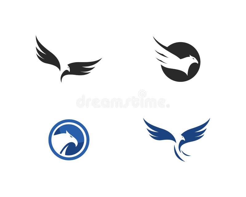 Πρότυπο λογότυπων πουλιών αετών γερακιών διανυσματική απεικόνιση
