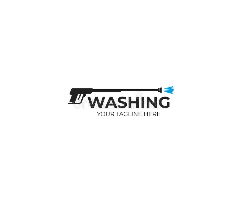 Πρότυπο λογότυπων πυροβόλων όπλων πλύσης πίεσης Διανυσματικό σχέδιο καθαρισμού στοκ φωτογραφία με δικαίωμα ελεύθερης χρήσης