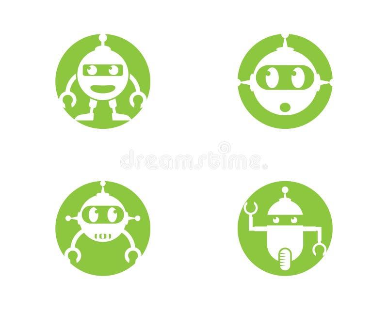 Πρότυπο λογότυπων ρομπότ διανυσματική απεικόνιση