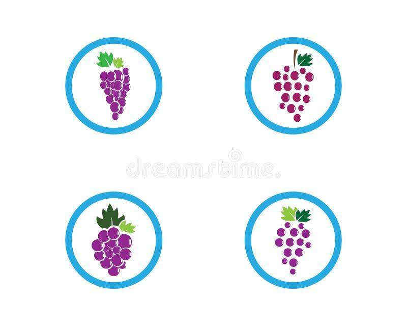 Πρότυπο λογότυπων σταφυλιών διανυσματική απεικόνιση