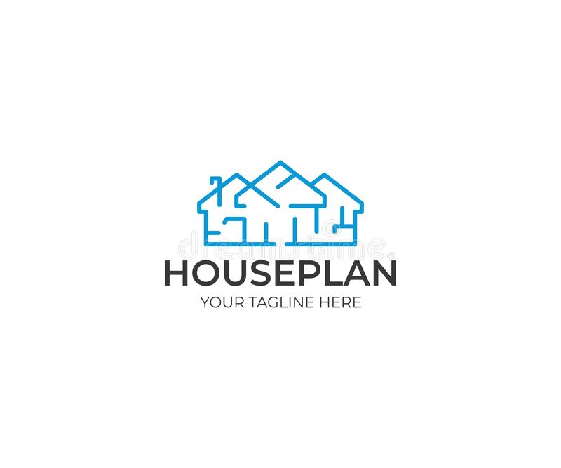 Πρότυπο λογότυπων σχεδίων σπιτιών Διανυσματικό σχέδιο Floorplan απεικόνιση αποθεμάτων