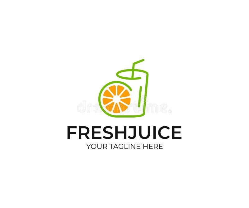 Πρότυπο λογότυπων χυμού από πορτοκάλι Διανυσματικό σχέδιο γυαλιού φετών και χυμού φρούτων απεικόνιση αποθεμάτων